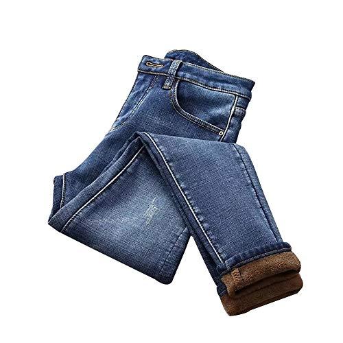 RollingBronze Pantalones vaqueros elásticos para mujer de cintura alta, con forro de felpa grueso