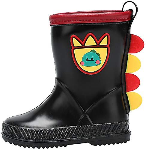 dripdrop Toddler Kids Rain Boots Easy On Waterproof Shoes Wellies for Girls Boys (Toddler/Little Kids) Black