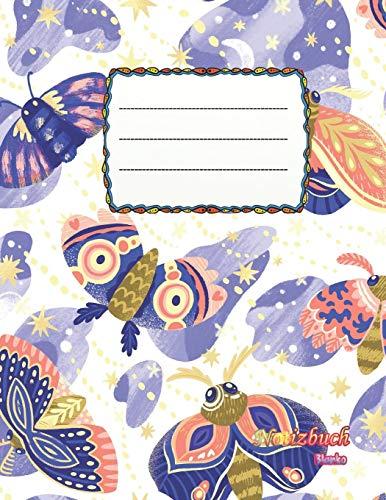 Notizbuch blanko: Design Schmetterling - Motte - A4 Format | 112 Seiten | Notizbuch mit Register |ideal als Tagebuch, Skizzenbuch, Sketchbook, Zeichenbuch oder leeres Malbuch