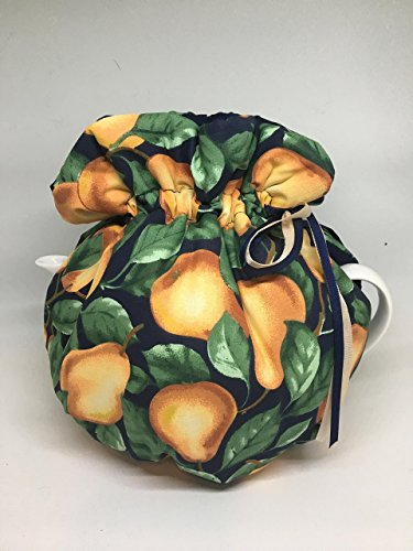 Reversible tea cozy Golden Pears on Navy blue Cotton ribbon tie top tea pot wrap sm/med 4cup