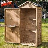 DANGRUUT Outdoor Storage Sheds, Fir Wood Tool Lockers with Workstation, Garden Wooden Arrow Shed, Organizer Cabinet for Backyard,Garden,Patio