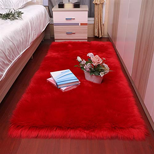 Jnszs Peluche vivo suave, para dormitorio, alfombra de imitación de algodón largo con ventanilla, mesilla de noche, cojín para sofá, cojín blanco, salón, habitación