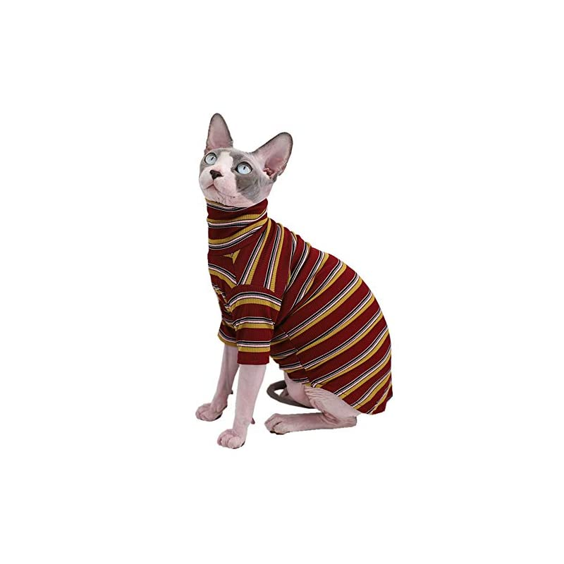 dog supplies online vintage stripes sphynx hairless cat cute breathable summer cotton t-shirts pet clothes,round collar vest kitten shirts sleeveless, cats & small dogs apparel (l (6-8.8 lbs), vintage wine)