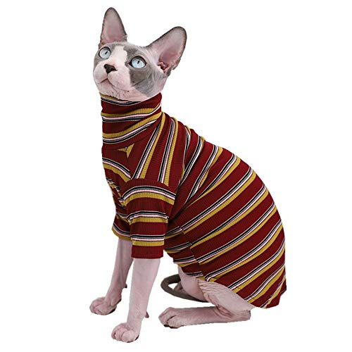 Vintage Stripes Sphynx Hairless Cat Cute Breathable Summer Cotton T-Shirts Pet Clothes,Round Collar Vest Kitten Shirts Sleeveless, Cats & Small Dogs Apparel (L (6-8.8 lbs), Vintage Wine)