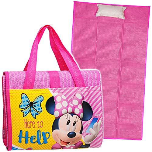 alles-meine.de GmbH Strandmatte / Strandunterlage mit Kissen - Disney - Minnie Mouse - 75 cm * 150 cm - Faltbare Picknick Decke / als Unterlage Isomatte - Nackenrolle Gartenmatte..
