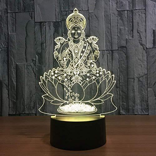 Nachtlicht 7 Farbwechsel Atmosphäre 3D Lampe Lakshmi Nachtlicht Led Visual India Göttin Des Reichtums Lampe Schlafzimmer Dekor Geschenk Leuchte Stereo Licht