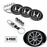 Lisha 9-Piece Set 65mm Car Wheel Center Cap Cover Logo Emblem Sticker for Honda Matching with Tire Valve Stem Caps and Keychain for Honda