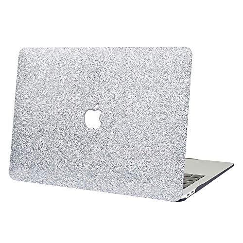 AUSMIX MacBook Pro 13 2019-2016 Case, 2 In 1 Bling Crystal Plastic Hard Shell Case Cover of Sparkly Glitter Series for New MacBook Pro 13 Inch Model A1706/A1708/A1989/A2159 Shiny silver