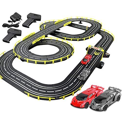 Pistas De Carreras 7.2M Slot Car Toy Educational Track Set Racing Set R/C High Speed Control Remoto Splicing Play Playsets Boy and Girl Cumpleaños Regalos (Color : Electric, Size : 4 Cars)