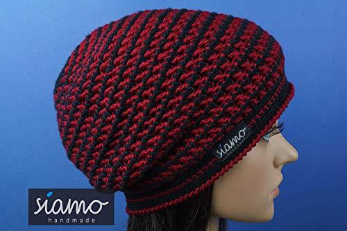 Beanie DORSET Unisex schwarz/weinrot gestreift Häkel-Mütze von siamo-handmade