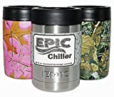 Insulated Beer Can Cooler Holder - Thermos Beverage Cooler Can Insulator- 12 oz Stainless Steel Colster - Perfect Beer Gifts (in Silver) by EPIC