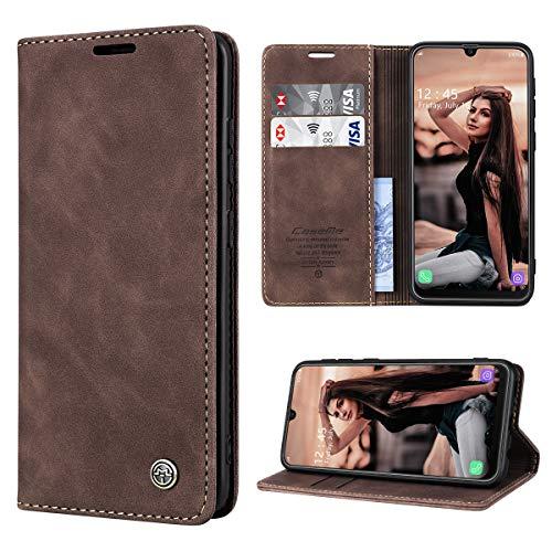 RuiPower Handyhülle für Samsung Galaxy M30s Hülle, Samsung Galaxy M21 Hülle Premium Leder PU Flip Magnet Wallet Klapphülle Silikon Bumper Schutzhülle für Samsung Galaxy M30S/ M21 Tasche - Koffee
