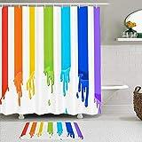 KISSENSU Cortinas con Ganchos,Alegre Representar Forma del arco iris Flujos atractivos Tinte Pigmento positivo Pintura Dibujar Color Diseño Colorear,Cortina de Ducha Alfombra de baño Bañera Accesorios