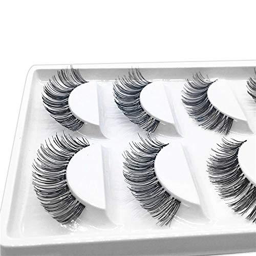 Faux Cils 100% 3D Naturel,5 Pairs RéUtilisable Faux Cils à La Main Naturel Ultra-Minces Charmant Longue Volum Eye Lashes (1cm-1.5cm, Noir)