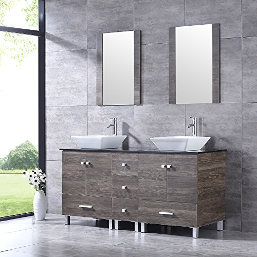 Bathroom Vanity Wood Cabinet Double Square Ceramic Porcelain Sink Combo with Faucet & Mirrors New