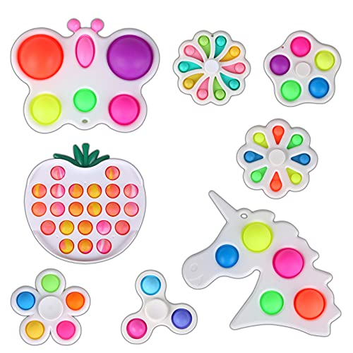 Fidget Pack, 8pcs Simple Dimple Fidget Toys Set with Bubble Fidget and Spinner Special Toys Bundle for Kids and Adults Gift for Classroom Rewards, Party Favor Birthday Gift Christmas Stuffers