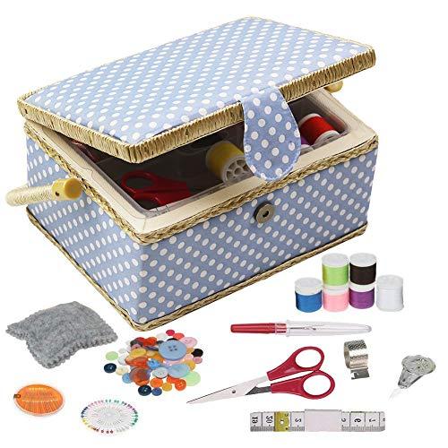 D & D Nähset-Korb für zu Hause, für Aufbewahrung und Organisation, tragbar, für Nadeln, Garn usw., Nähkorb mit Zubehör M blau