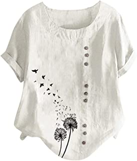 Plus Size Vintage T-Shirt, Women Casual O-Neck Printed Button Loose Tunic Tee Blouse Tops