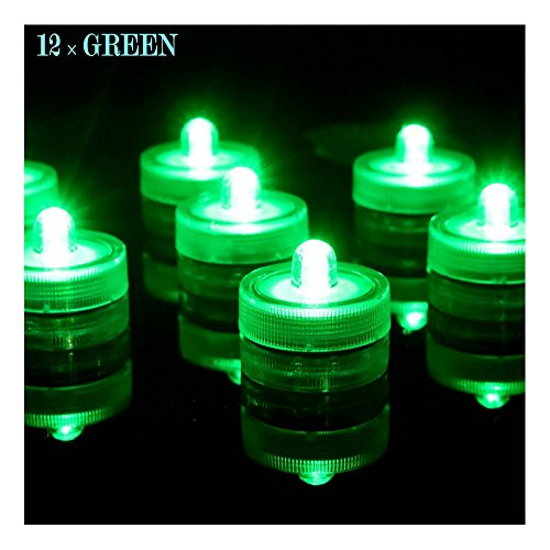 Bright LED Battery Operated Flameless Tea Light, Submersible Tea Candle Waterproof Decorations Underwater Vase Light for Party and Wedding, Pack of 12, Green