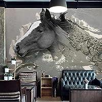 カスタム壁画壁紙3Dステレオレリーフ抽象馬動物壁紙リビングルームテレビ研究装飾フレスコ画-350x250cm