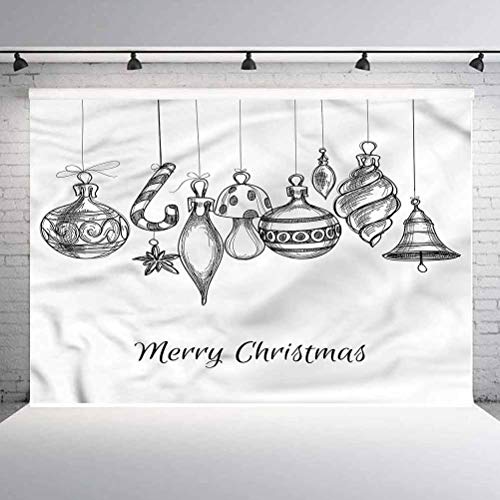 8x8FT Vinyl Photography Backdrop,Christmas,Sketchy Ornaments Background Newborn Birthday Party Banner Photo Shoot Booth