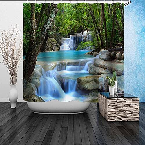 """Beddinginn Waterfall Shower Curtain, Fabric Green Shower Curtain Set,3D Forest Nature Waterproof Shower Curtain for Bathroom(Waterfall,72""""x78"""")"""