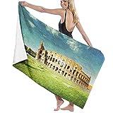 AIMILUX Toalla de Playa,Atardecer en el histórico Coliseo de Roma,un Paisaje de Arte Europeo emblemático Italiano,Toallas de Baño Toallas de Acampada Piscina Natación Playa Ducha