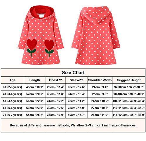 JinBei Vestidos con Capucha Niñas Largo Túnica Pullover Tops Manga Larga Algodón Suéter Casual Lunares Flores Rojo Otoño Sudadera con Capucha 2 3 4 5 6 7 años