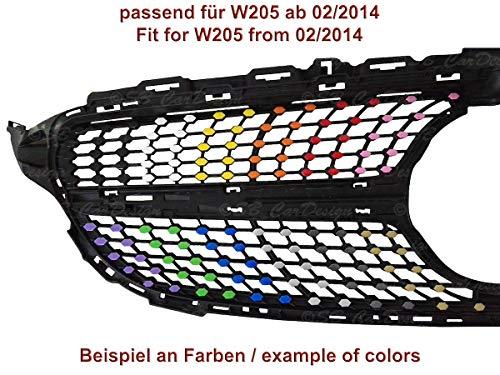 Diamantgrill Folien Sticker für Mercedes C-Klasse W205 AMG Grillaufkleber (Schwarz)