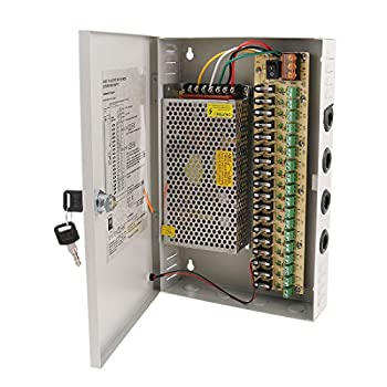 Ares Vision 18 Channel/Port 20 AMPS 12V DC Power Supply Box Individually Fused for CCTV LED and All 12v DC Devices.