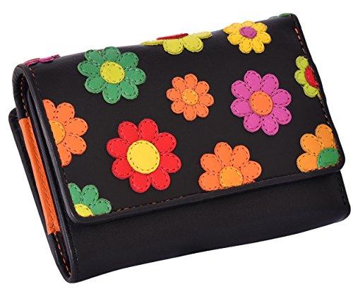 Visconti ® Leder Portemonnaie Damen RFID Schutz Geldbeutel Damen Geldbörse Bifold Mehrfarbig Portmonee in Geschenk-Box Daisy Purse (DS81)