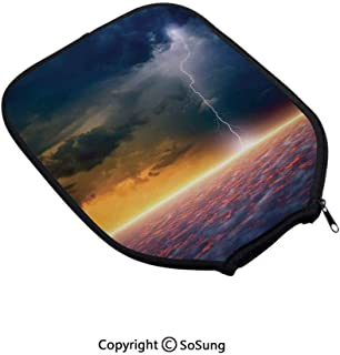 Lake House Decor Neoprene Pickleball Paddle Cover,Apocalyptic Sky View End of The World Majestic Mystic Sky Solar and Flames Image,Fits Standard and Wide Body Size Paddles, Orange Blue