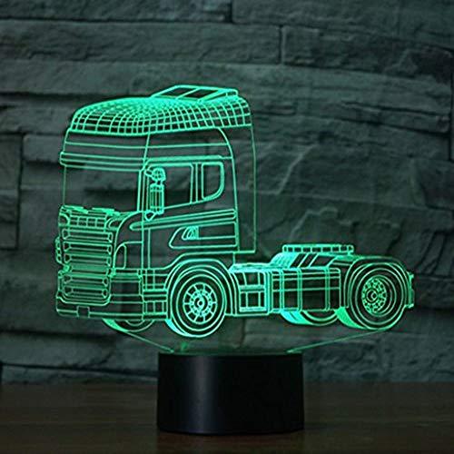 Truck 3D-Illusielamp Nachtlampje Met 7 Kleuren Knipperende Versterker/Aanraakschakelaar Usb-Aangedreven, Slaapkamer Bureaulamp Voor Kinderen Geschenken Woondecoratie