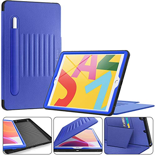 Timecity iPad 10.2 Case (iPad 7th Generation Case). Very Protective But Convenient Magnetic Stand + Smart Sleep/Wake + Elastic Apple Pencil Pocket + Card Holder Cover for iPad 7th gen, Black/Navy Blue