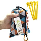 HZJOYUE Foldable Beach Blanket (71' x 55') -Compact, Lightweight Sand Proof Pocket Blanket Best Mat for The Beach, Hiking, Camping,Travel Festivals with Loops, Stakes, Carabiner (Camouflage Lattice)