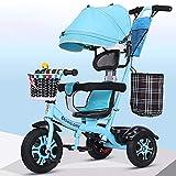 AI-QX Besrey Triciclos Bebes, Triciclo Bebe evolutivo Infantil 7en1 Bicicletas para Bebe niños reclinable Triciclo Cochecito con Cuna Reversible al Padres,Blue