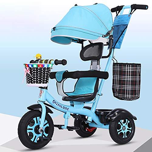 Besrey 7 in 1 Triciclo Passeggino per Bambini Triciclo con Maniglione Triciclo a Spinta Bicicletta con Seggiolino Reversibile 360° da 6 Mesi - 6 Anni Grigio + Parapioggia Gratis +Ruota Gomma,Blue
