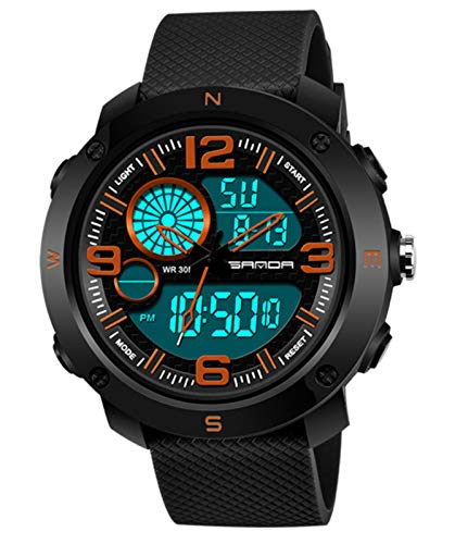 MLHXHX Reloj electrónico masculino estudiante hombres moda tendencia juvenil impermeable luminoso reloj deportivo negro naranja