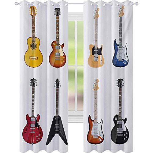 Cortinas opacas impresas, una amplia variedad de instrumentos de cuerda, patrones musicales realistas, azules de jazz, acústicos, cortinas de 52 x 95 para dormitorio, multicolor