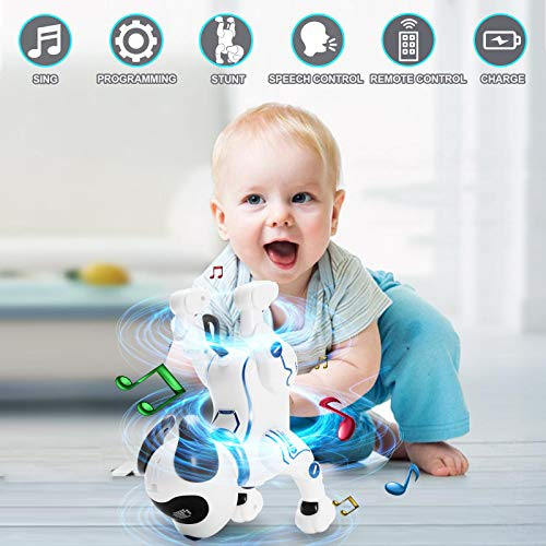 YuBoa Remote Control Smart Robot Dog for Kids, RC Smart Robot Toys Programmable Stunt Interactive Robotic Toys Handstand Push-up Singing Dancing Rechargeable Electronic Robot Puppy for Boys Girls