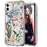 ICEDIO iPhone 11 Case with Screen Protector,Clear with Cute Tropical Leaves Floral Flower Patterns for Girls Women,Shockproof Slim Fit TPU Cover Protective Phone Case for Apple iPhone 11 6.1 inch i phone protector case May, 2021