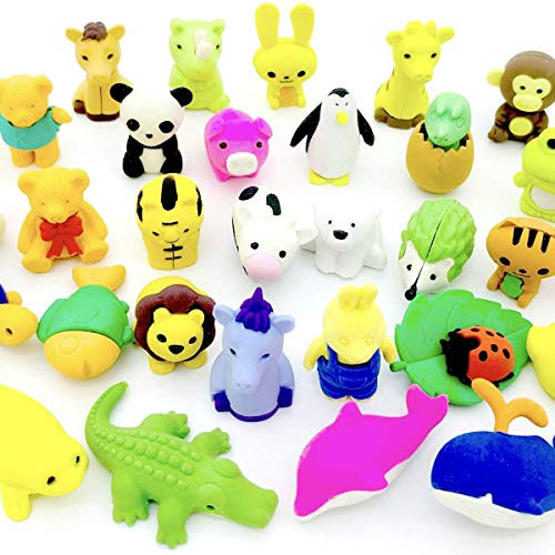 OHill Pack of 32 Animal Erasers Bulk Kids Pencil Erasers Puzzle Erasers Mini Novelty Erasers for Classroom Rewards  Party Favors  Games Prizes  Carnivals Gift and School Supplies