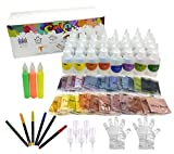 ColoDye 32 Colors One-Step Complete DIY Tie Dye Kit with Fabric Glue and Colored Pens for Textile Craft Arts Shirts and Fabric Canvas Shoe