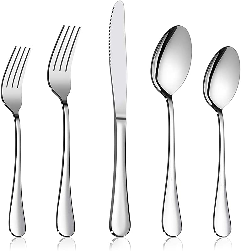 Silverware Set 40 Piece Flatware Set E Far Stainless Steel Eating Utensils Service For 8 Dinner Knives Forks Spoons Simple Classic Design Mirror Polished Dishwasher Safe