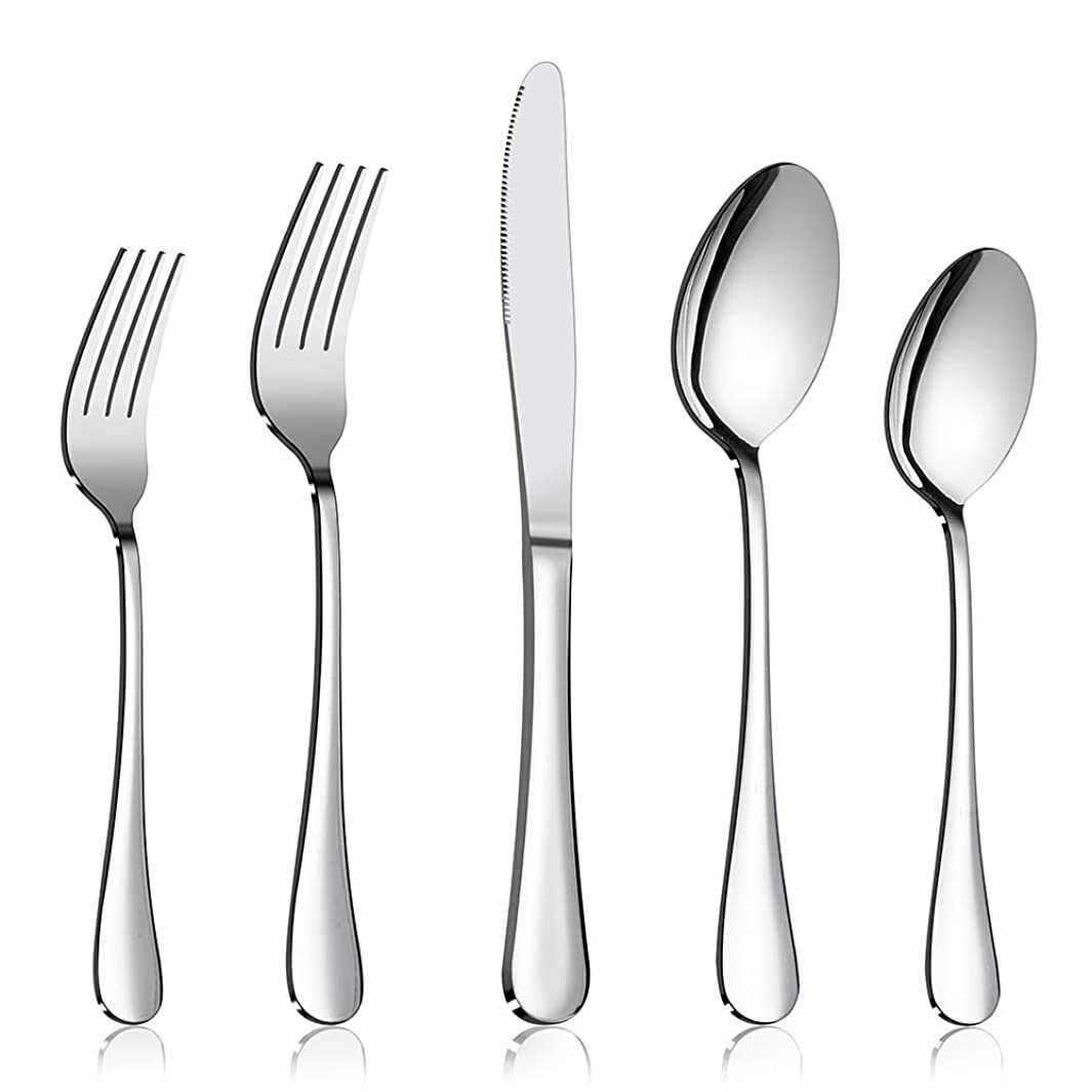 Silverware Set Service for 2, E-far 10-Piece Stainless Steel Flatware Set Cutlery Set, Include Knife/Fork/Spoon, Simple & Classic Design, Easy Clean & Dishwasher Safe