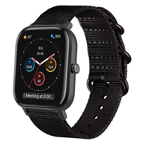 WATORY Armband kompatibel mit Amazfit GTS, Quick Release Premium Nylon Uhrenarmband Ersatzband mit Verstellbarem Verschluss für Amazfit Bip, Amazfit Bip lite, Amazfit GTR 42mm. Schwarz