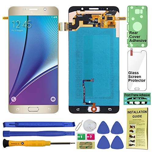 Display Touch Screen (AMOLED) Digitier Assembly with Home Button for Samsung Galaxy Note 5 All Models (Unlocked) N920 N920A N920T N920V N920P N920R4 N920F (for Repair Replacement) (Gold Platinum)