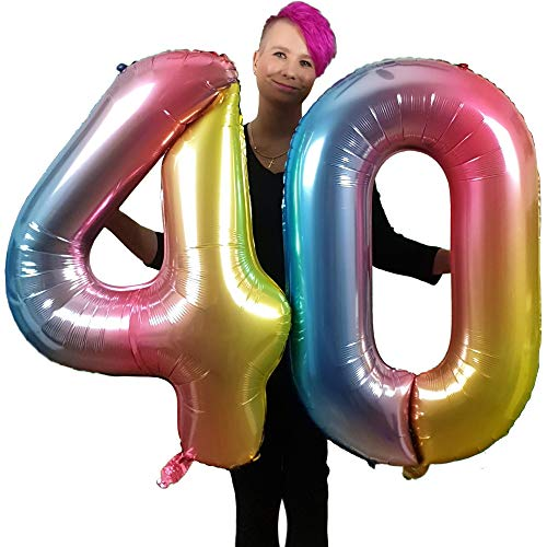 DIWULI, gigantische XXL-nummerballonnen, nummer 40, iriserende regenboogballonnen, aantal ballonnen, folieballonnen nummer geen jaar, folieballonnen voor 40e verjaardag, feestversiering