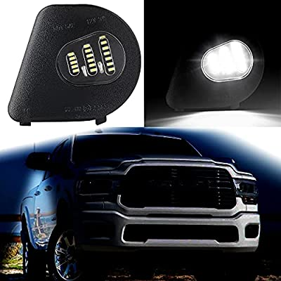 AutoJoy Club 2Pcs LED Side Mirror Puddle Light Puddle Lamps Assembly Compatible with 2010-2019 Dodge Ram 1500 2500 3500 4500 5500 Towing Mirror Lights, 6500K Xenon White