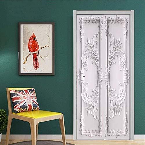 Pegatina De puerta 3D con patrón en relieve europeo, autoadhesivo De PVC, Mural De puerta De sala De estar, pegatina De pared, póster, Papel De pared 3D
